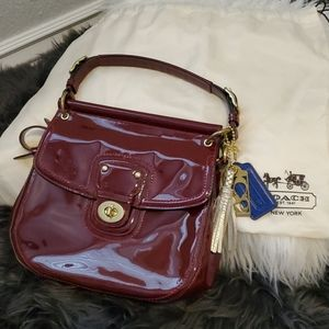 COACH DEEP RED PATENT  LEATHER CROSSBODY